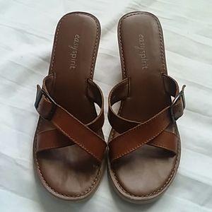Easy Spirit Wood Heel Brown Sandals Sz. 7.5